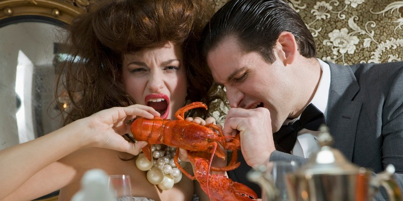 Two lovers share a meal