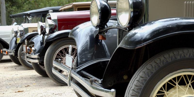 A line of vintage motors